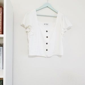 ZARA White Linen Ruffle Top with Buttons